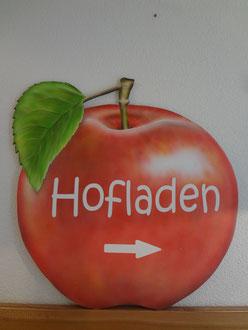 Kundenauftrag Apfel auf Kunstoffplatte  für draussen  80 X 80 cm