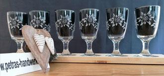 Edelweissgläser handgraviert / Glasgravur