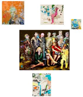 Manuel Vázquez Domínguez. Rastrear la Señal (340 horas). Acrílico, óleo y grafito s/lienzo. Variables. 2015