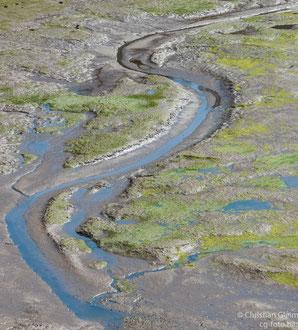 Flussbild bei San Vincente de la Barquerqa bei Ebbe