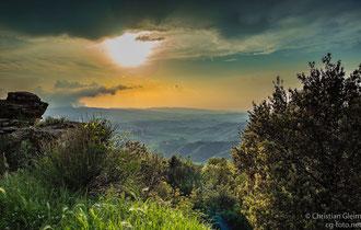 Volterra, Blick über den Abhang der Balze