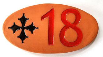 Plaque numéros chiffres émaillé rouge et Motif émaillé noir