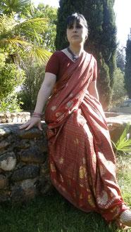 Sari rouge Rani doré