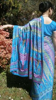 Sari bleu Rani doré