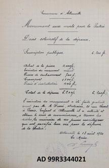 ALLONVILLE (Devis ; Archives dép. de la Somme)