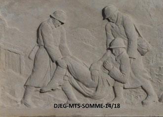 Fort-Mahon - Bas-relief : l'évacuation des blessés