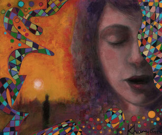 «Yo Adivino el Parpadeo (Khayyam)» óleo sobre lienzo - 20 x 35 cm - 2015