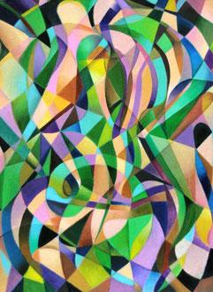 «Composición geométrica (Corazones)» óleo sobre cartón - 50 x 40 cm - 2012
