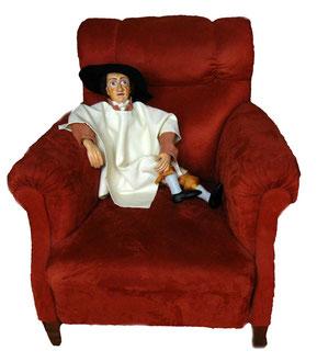 Goethe macht es sich auf seinem Sesssel gemütlich