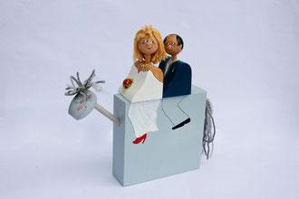 Hochzeitspaar zu Pferd