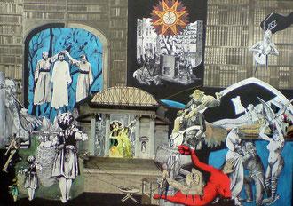 DIE PREUSSISCHEN TUGENDEN übermalte Papiercollage - 50 x 70 cm