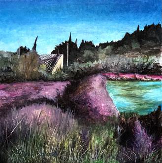 PEYRIAC-DE-MER, SALINS     Acryl auf Leinwand - 40 x 40 cm