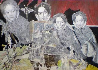 SCHATTENVÖGEL übermalte Papiercollage - 50 x 70 cm