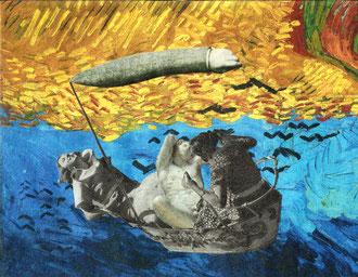BOOT Papiercollage - 11 x 13,8 cm