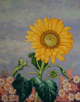 sonnenblume, acryl auf leinwand, 50 x 70 cm © gunnar mozer