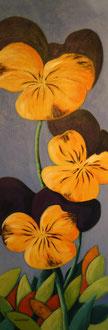 stiefmütterchen, acryl auf leinwand, 40 x 100 cm © gunnar mozer