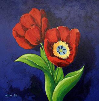 erotisches tulpenpaar, acryl auf leinwand, 80 x 80 cm © gunnar mozer
