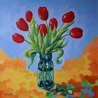 strauß mit tulpen, acryl auf leinwand, 80 x 80 cm © gunnar mozer