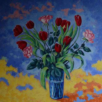 strauß mit tulpen und rosen, acryl auf leinwand, 80 x 80 cm © gunnar mozer