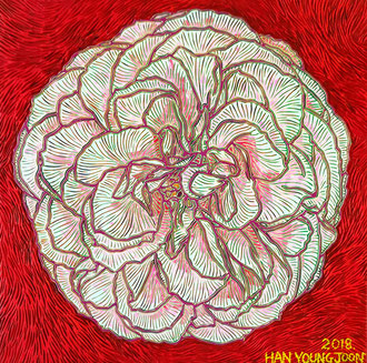 Rosa Rose, 30 x 30 cm,  Acryl auf Holz Malplatte (Kkeul Malerei)-----------분홍 장미 꽃, 30 x 30 cm, 나무판넬에 아크릴(끌 말러라이)