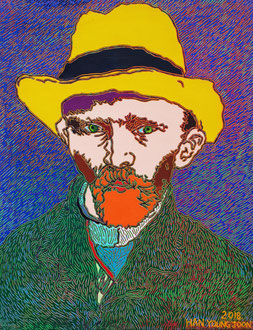 Frei nach Van Gogh- Selbstbildnis mit  Stohhut, 40 x 50 cm,  Acryl auf Leinwand (Kkeul Malerei)----------- 고흐의 자화상 , 40 x 50 cm, 캔버스에 아크릴(끌 말러라이)