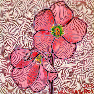 Glücksklee blüte, 20 x 20 cm,  Acryl auf Holz Malplatte (Kkeul Malerei)-----------행운의 클로버 꽃, 20 x 20 cm, 나무판넬에 아크릴(끌 말러라이)