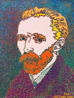 Frei nach Van Gogh- Selbstbildnis , 40 x 50 cm,  Acryl auf Leinwand (Kkeul Malerei)----------- 고흐의 자화상 , 40 x 50 cm, 캔버스에 아크릴(끌 말러라이)