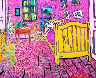 Frei nach Van Gogh- Sein Schlafzimmer, 50 x 40 cm,  Acryl auf Leinwand (Kkeul Malerei)----------- 고흐의 침실, 50 x 40 cm, 캔버스에 아크릴(끌 말러라이)