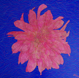 Dahlie, 100 x 100 cm,  Acryl auf Leinwand (Kkeul Malerei)--------달리아. 100 x 100 cm, 캔버스에 아크릴(끌 말러라이)