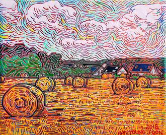 Neubrücker Feld, 30 x 24 cm,  Acryl auf Leinwand (Kkeul Malerei)----------- 노이브뤽의 들판, 30 x 24 cm, 캔버스에 아크릴(끌 말러라이)