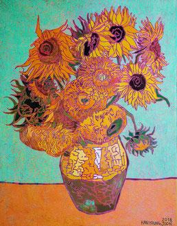 Frei nach Van Gogh- Sonnenblume, 80 x 100 cm,  Acryl auf Leinwand (Kkeul Malerei)----------- 고흐의 해바라기, 80 x 100 cm, 캔버스에 아크릴(끌 말러라이)