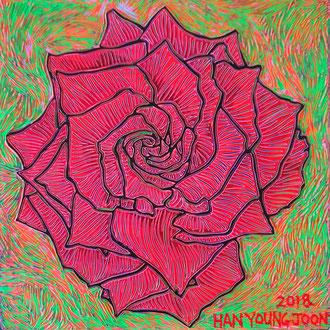 Rote Rose, 20 x 20 cm,  Acryl auf Holz Malplatte (Kkeul Malerei)-----------빨간 장미 꽃, 20 x 20 cm, 나무판넬에 아크릴(끌 말러라이)