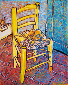 Frei nach Van Gogh- ein Stuhl mit Pfeife, 40 x 50 cm,  Acryl auf Leinwand (Kkeul Malerei)----------- 고흐의 의자와 파이프, 40 x 50 cm, 캔버스에 아크릴(끌 말러라이)