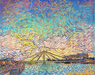 Severinsbrücke, Köln am Rhein, 30 x 24 cm,  Acryl auf Leinwand (Kkeul Malerei)----------- 라인강 세버린 다리의 경치 쾰른, 30 x 24 cm, 캔버스에 아크릴(끌 말러라이)