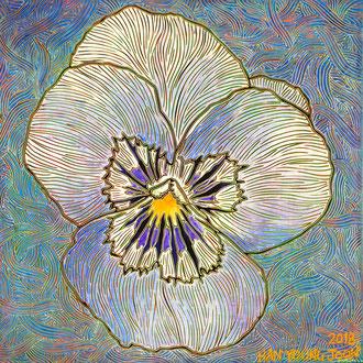 Stiefmütterchen, 30 x 30 cm,  Acryl auf Holz Malplatte (Kkeul Malerei)----------- 팬지 꽃, 30 x 30 cm, 나무판넬에 아크릴(끌 말러라이)