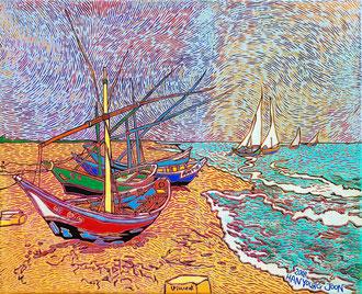 Frei nach Van Gogh- Fischerboote am Strand von Saintes Maries, 50 x 40 cm,  Acryl auf Leinwand (Kkeul Malerei)----------- 고흐의 풍경화/ 쌍 마리에 해변의 어선들, 50 x 40 cm, 캔버스에 아크릴(끌 말러라이)
