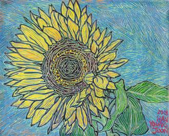 Sonnenblume, 30 x 24 cm,  Acryl auf Holz Malplatte (Kkeul Malerei)----------- 해바라기, 30 x 24 cm, 나무판넬에 아크릴(끌 말러라이)