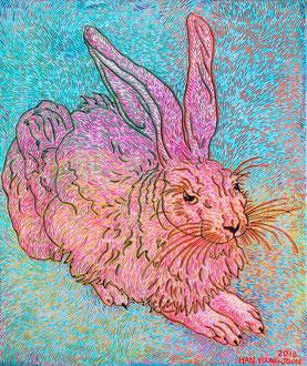 Frei nach Dürer- Hase II, 50 x 60 cm,  Acryl auf Leinwand (Kkeul Malerei)-----------뒤러의 토끼 II, 50 x 60 cm, 캔버스에 아크릴(끌 말러라이)