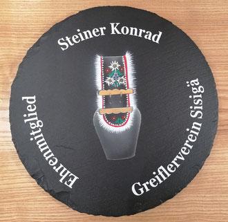 Ehrenmitglied Geschenk Schieferdrehteller Greifler