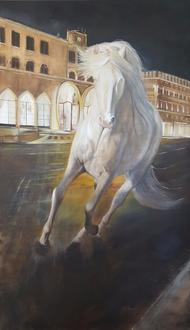 renaud-hadef-artiste-equin-A LISBOA-huile sur toile 155x90cm-lusitanien-chevaux-peintur