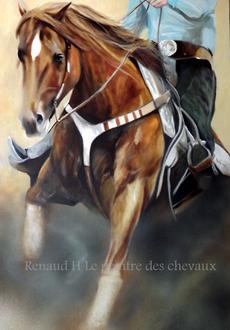 renaud-hadef-artiste-equin-QUARTER HORSE-huile sur toile 100x60cm