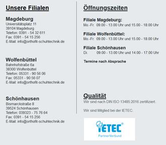 Öffnungszeiten und Kontaktdaten der Filialen von Orthofit Magdeburg, Mitglied IETEC