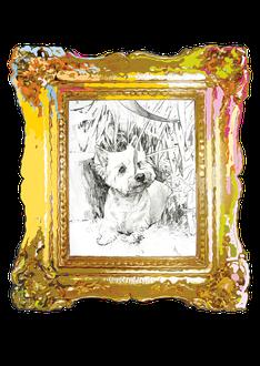 """Prima DIVA Zeichnung von """"Whisky"""" einem West Highland Terrier"""