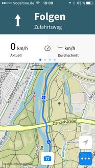 """""""Geplante Tour"""": Navigation starten -> sofort Funktionsbutton rechts unten klicken!"""