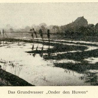 """Abbildung von 2011 über das Drängewasser """"Onder den Huwen"""", Quelle: Broschüre Homberg-Niederrhein von K.Teelen 1 950"""