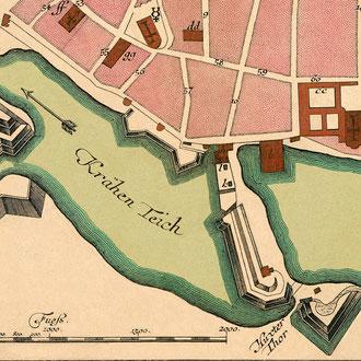 Seutter 1750: Plan von Lübeck - nach der Restaurierung