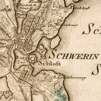 Karte 7: Schwerin nebst Umgebung um 1788 (Schmettau'sches Kartenwerk)