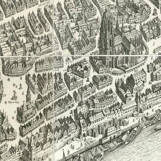 Merian 1770: Vogelschau von Frankfurt/Main - vor der Restaurierung