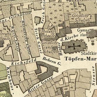 Weiland 1841: Grundkarte von Weimar - nach der Restaurierung