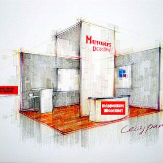 Mappenkurs Ausstellungsdesign, Raum zeichnen lernen für Exhibition Deisgn, Studium Exhibitiondesign HSD Düsseldorf